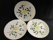 "Blue Ridge Sungold #2 Set of 3 Dinner Plates 10 1/2"" Yellow Flowers HTF"