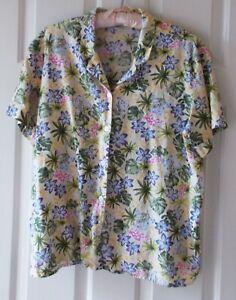 Liz Claiborne - Campshirt - Khaki Hawaiian Floral - Size X Large