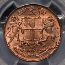British India 1858 1/4 Anna Lion animal PCGS MS65RD rare this grade in RED PC083