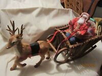 Antique German Style Santa & Furry Reindeer Pulls Wood Sleigh w/Packages & Toys