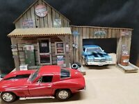 FULL SERVICE GARAGE, WEATHERED, HAND CRAFTED, DIORAMA, 1:18 SCALE, NEW