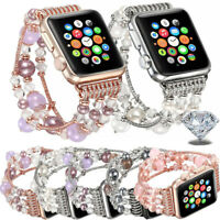 Bling Agate Beads Strap Bracelet Band For Apple Watch Series 4 1 2 3 38/42mm