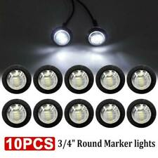 10x 12V Clear White Round Bullet Truck Trailer Side Marker LED Lights Lamps cvz