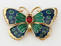 BROOCH butterfly, enamel, crystals, gold-tone metal