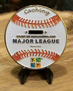 Gold Major League Caching Baseball Trackable Geocoin Unactivated RARE 25 MADE