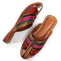 Women's Leather Jutti Traditional Punjabi Mojari Khussa Sandle US Style Design
