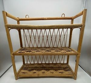 "Vintage 70s Wicker Rattan Woven 3 Tier Shelf 15"" Bathroom Wall Shelf BOHO Decor"