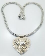 Vintage Sterling Silver 925 Heavy Elephant Heart Indian Choker Necklace