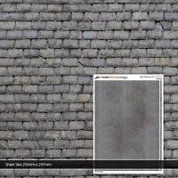 2x Hojas Desgastado Pizarra techo baldosas N Escala Modelo Ferrocarril