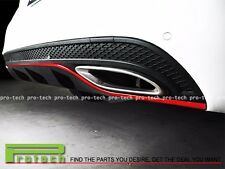 M-Benz Black Metal Red Line Rear Bumper Diffuser Cover For  W205 C200 C250 w/AMG
