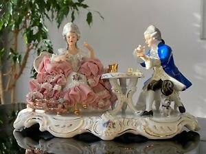 Large Dresden Lace Figurine Playing Dice, Excellent!