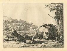 """Karel Dujardin original etching """"The Shepherd behind the Tree"""""""