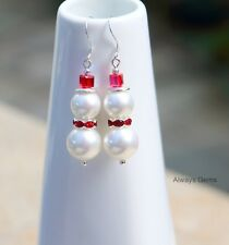 Snowman Christmas Earrings w White shell pearl and Red hat,925 silver hooks New