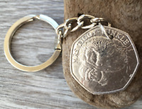 Tiggy-Winkle 50p Beatrix Potter coin KEYRING KEY CHAIN Hedgehog gift charm