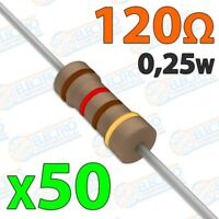 Resistencia 120 ohm 0,25w ±5% 300v - Lote 50 unidades - Arduino Electronica DIY