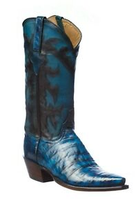 Brand New Lucchese Classics Hand-Stained Men's Blue Crocodile Boots 9 D $2,195