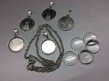 Pendant Necklace DIY Kit, 5 x 16mm Round Silver Setting, chain + glass cabochon