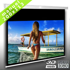 16:9 Écran de projection manuel 200cm x 113cm pour videoprojecteur HDTV 3D Neuf