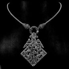 Sterling Silver Necklace Genuine Marcasite Encrusted Pendant Design 25 Inch