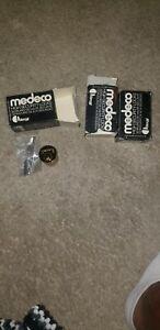 Medeco Maxum Deadbolt Cylinder - 6 Pin - No key Lot of 3 Bright Brass