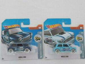 Hot Wheels - Pair of Morris Mini models in Sealed Blister Packs.