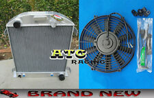 "3 CORE ALUMINUM RADIATOR & 16"" FAN FOR FORD 1932 HI-BOY CHEVY ENGINE HOTROD 32"