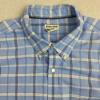 St John's Bay Button Up Shirt Mens 2XL Blue Short Sleeve Check Iron Free Casual