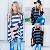 Women Ladies Batwing Sleeve Loose Blouse Tops T-shirt Pullover Striped Shirt NEW