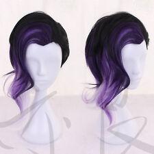 Game Overwatch OW Sombra Wig Black Purple Ombre Hair Cosplay Wig N061