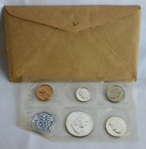 1960 US Proof Set Large Date 1c Coin 3 Silver Coins 5 Coins Set Philadelphia