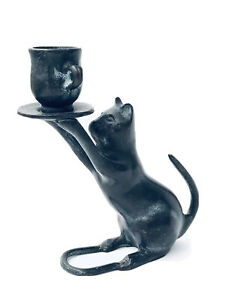 """Vintage Cast Iron Heavy Bronze Kitty Cat Taper Candle Holder Cup Saucer 5.5""""H"""