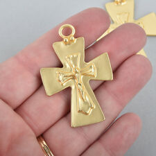 """2 Matte Gold Crucifix Cross Charms with gold foil, large 2"""" long, chs5002"""