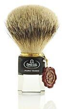 Omega 632 de aletas plateadas pelo de tejón brocha de afeitar