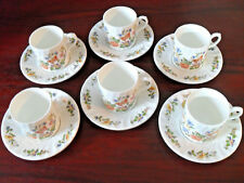 Aynsley Cottage Garden Demitasse Small Coffee Cups and Saucers *Excellent*