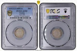 TUNISIA SILVER 50 CENTIMES AU COIN 1895 - A AH1313 YEAR KM#223 ALI III PCGS AU53