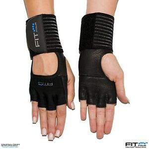 The F4X Spartan - Full Leather Palm | Fit Four Callus Guard Workout Gloves BLACK