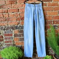 90s High Waisted Baggy Mom Jeans Pleated Tapered Vtg Lizwear Stonewash 2 26 X 30