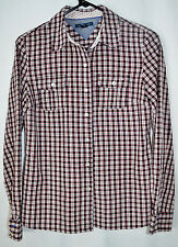 Tommy Hilfiger Blouse Black/White/Red Plaid Long Sleeves Juniors/Misses S/P