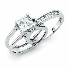 Square Princess Cut 2 Piece Engagement Wedding Ring Band Set 14K White Gold