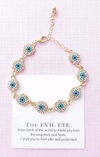 Gold Blue white round disk crystal greek turkish evil eye protection bracelet
