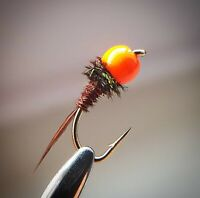 Hot Head Pheasant Tail Nymph Size 12 (Set of 3) Fly Fishing Flies Grayling beads
