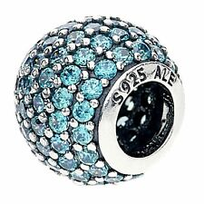 Authentic Pandora Sterling Silver Teal Pave Lights Charm 791051MCZ