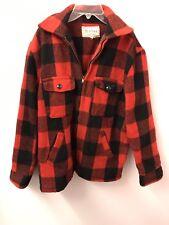 Melton Vintage Red Plaid Wool M L Coat Hippie Euc Jacket Hunting Euc