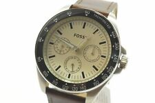 Fossil BQ2202 Neale White Dial Brown Leather Strap Men's Chronograph Watch