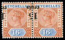 MOMEN: SEYCHELLES SG #19a PAIR 1893 INVERTED SURCHARGE MINT OG H **CERT**