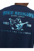 True Religion Men's Marbled Metallic Buddha Logo Tee T-Shirt in Ace Blue