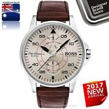NEW HUGO BOSS MENS AVIATOR WATCH SILVER STEEL BEIGE DIAL BROWN LEATHER 1513516