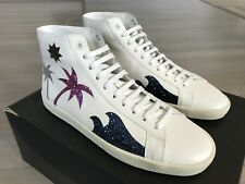 850$ Saint Laurent White Leather High Tops Sneakers size US 10, Made in Spain