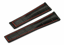 22mm Genuine Leather Wrist Watch Band Strap for Heuer Monaco Carrera Black/Red