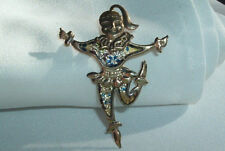 VINTAGE 1950s ARTICULATED FIGURAL GIRL BALLERINA DANCER BROOCH PIN IN GIFT BOX